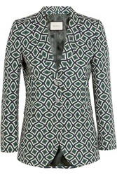 Gucci Printed Cotton Blazer Emerald
