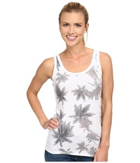 Carve Designs Inlet Tank Black White Palms Women's Sleeveless