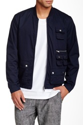 Shades Of Grey Multi Pocket Bomber Jacket Blue