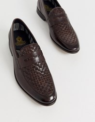 Base London Alto Weave Loafers In Brown
