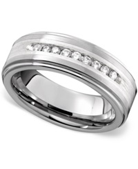 Triton Men's Ring Tungsten Diamond Row 1 4 Ct. T.W.