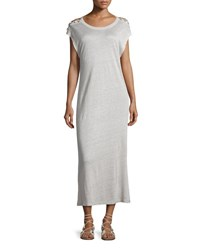 Iro Iboga Linen Laced Shoulder Midi Dress Light Gray