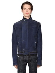 Diesel Black Gold Lace Up Waxed Suede Moto Jacket