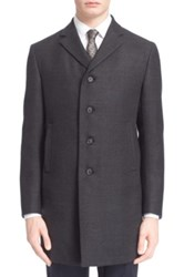 Z Zegna Trim Fit Wool And Mohair Topcoat Blue