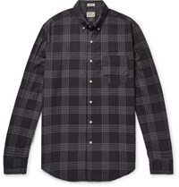 J.Crew Button Down Collar Over Dyed Checked Cotton Blend Shirt Black