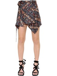Isabel Marant Printed Silk Twill Wrap Skirt
