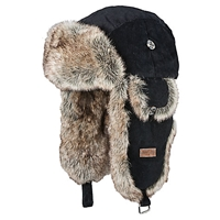 Barts Faux Fur Rib Bomber Trapper Hat One Size Black