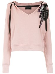 Andrea Bogosian Embroidered Hoodie Pink