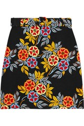 Msgm Floral Print Cloque Mini Skirt Yellow