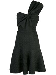 Josie Natori Jacquard One Shoulder Dressone Black