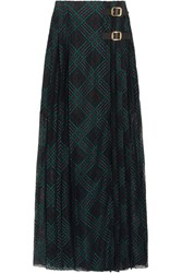 Philosophy Di Lorenzo Serafini Leather Trimmed Pleated Lace Wrap Maxi Skirt Black