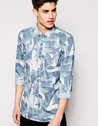 Pull And Bear Pullandbear Retro Print Shirt Blue