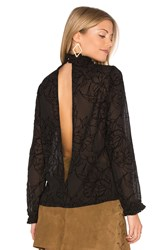 Minkpink Shadows Flocked Blouse Black