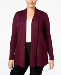 Jm Collection Plus Size Ribbed Open Front Cardigan Only At Macy's Maroon Dahlia