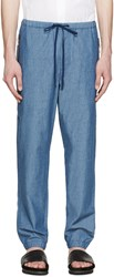 3.1 Phillip Lim Blue Chambray Drawstring Trousers