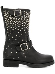 Albano Pearl Embellished Boots Black