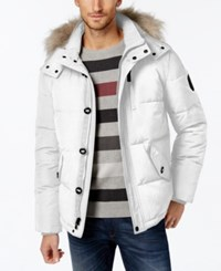 Calvin Klein Men's Faux Fur Lined Hooded Coat White