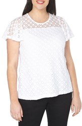Evans Plus Size Women's Lace Overlay Top White