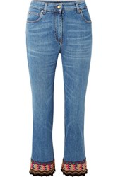 Etro Cropped Embroidered High Rise Flared Jeans Blue