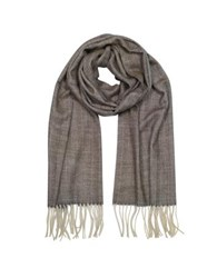 Mila Schon Herringbone Cashmere Wool And Silk Fringed Long Scarf Brown