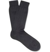Pantherella Ribbed Sea Island Cotton Blend Socks Gray