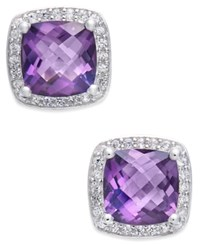 Macy's Amethyst 1 3 4 Ct. T.W. And Diamond 1 8 Ct. T.W. Halo Stud Earrings In Sterling Silver