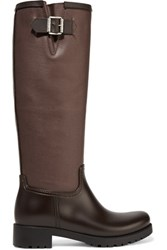 Maison Martin Margiela Mm6 Coated Canvas And Rubber Rain Boots Dark Brown