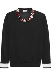Fendi Embellished Cashmere And Silk Blend Sweater Black