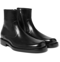 Balenciaga Leather Zip Up Boots Black