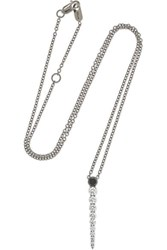 Melissa Kaye Aria 18 Karat Blackened White Gold Diamond Necklace One Size