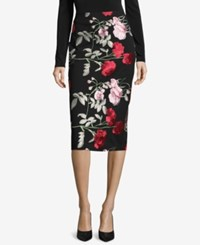 Eci Embroidered Pencil Skirt Black Blush
