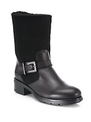 Aquatalia By Marvin K Sandra Leather And Double Face Shearling Moto Boots Black