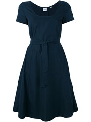 Aspesi Belted Flared Dress Women Cotton 44 Blue
