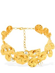 Ca And Lou Ortensia Flower Choker W Crystals Gold