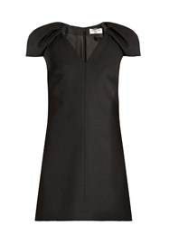 Saint Laurent V Neck Wool Crepe Dress Black
