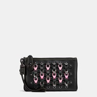 Coach Turnlock Wristlet 21 In Exotic Link Leather Bp Black Pink