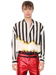 Haider Ackermann Oversized Stripes Printed Silk Shirt