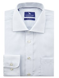 Chester By Chester Barrie Tattershall Check Shirt White Blue
