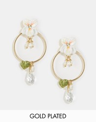 Les Nereides Floral Hoop Earrings White