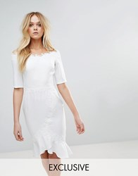 Paper Dolls Bardot Midi Dress With Lace Trim And Frill White