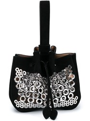 Alaia Eyelet Embellished Clutch Black