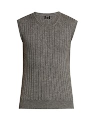 Jil Sander Ribbed Knit Wool And Silk Blend Top Grey