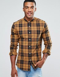 Asos Skinny Checked Shirt With Grandad Collar In Camel Camel Beige