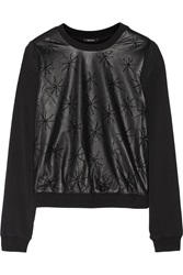 Raoul Mika Embellished Leather Paneled Crepe Top Black