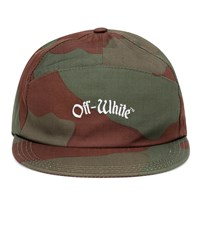 Off White Embroidered Cotton Cap Green