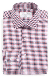 Lorenzo Uomo Men's Big And Tall Trim Fit Check Dress Shirt Red Navy