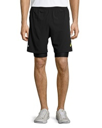 Asics Fuji 2 N 1 Performance Shorts Black Electric Lime
