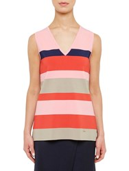 Ted Baker Colour By Numbers Nenti Knitted Stripe Vest Red