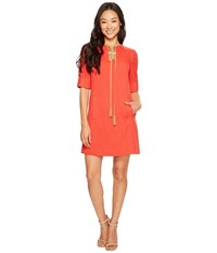 Tahari By Arthur S. Levine Petite Lace Up Shift Dress Poppy Red Women's Dress