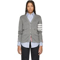 Thom Browne Grey Silk 4 Bar Cardigan